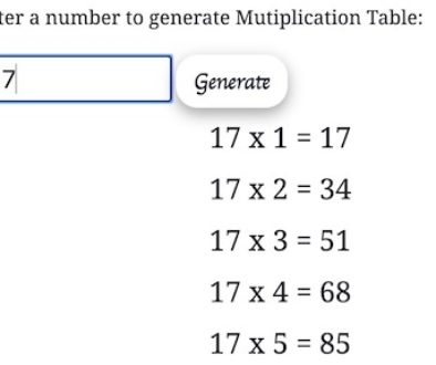 mutiplication table generator